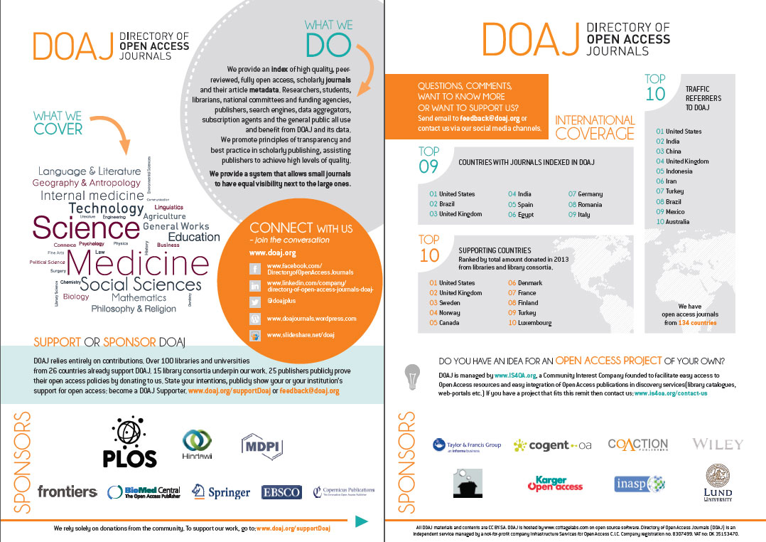 the new doaj flyer a fresh design and updated information news