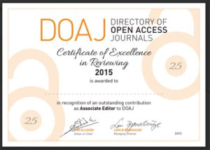 Associate Editor's certificate