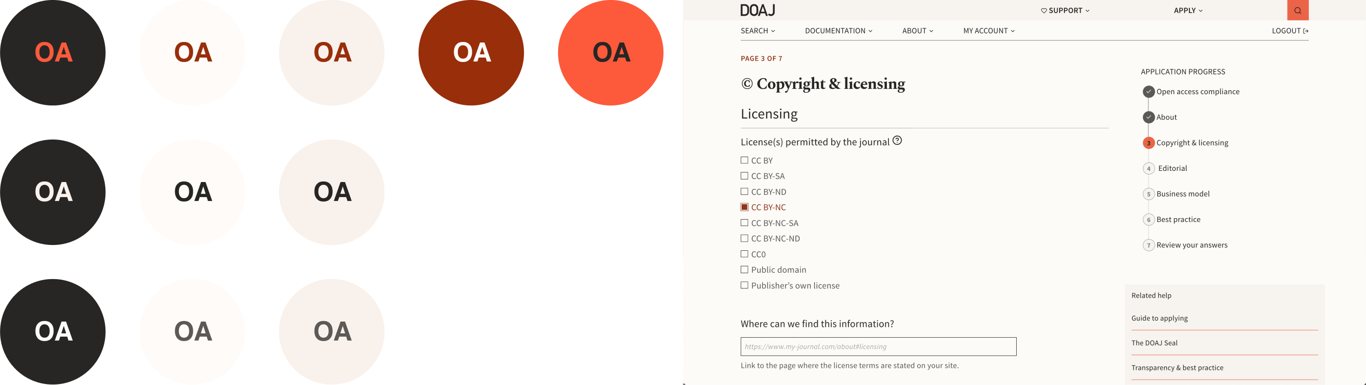 "Left side of picture shows ten accessible combinations for text on background colours in shades of orange, black, and beige. Right side shows the ""Copyright & Licensing"" section of the new application form using the accessible colour palette. The first question asks for license(s) permitted by the journal, followed by checkboxes for Creative Commons licenses."