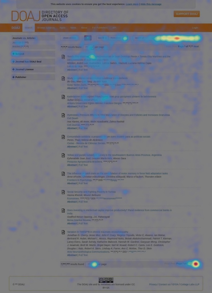 A heatmap of the search tool showing that most users move their cursor and click on the search bar (positioned to the right), the first article, and the next page button.